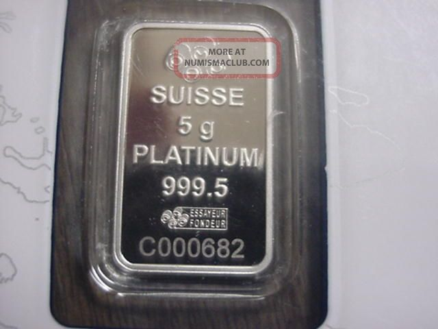 Pamp Suisse 5 Gram.  9995 Platinum Bar In Certificate Card Nr Platinum photo