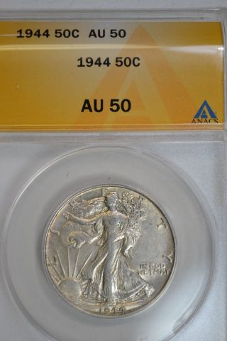 1944 Walking Liberty Half Dollar Silver Certified Anacs Au 50 Philadelphia photo