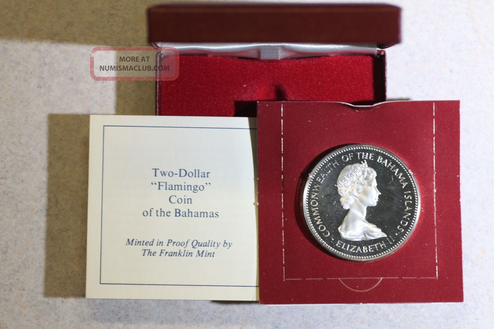 1972 Bahamas Proof.  925 Silver World Crown,  Case, Coins: World photo