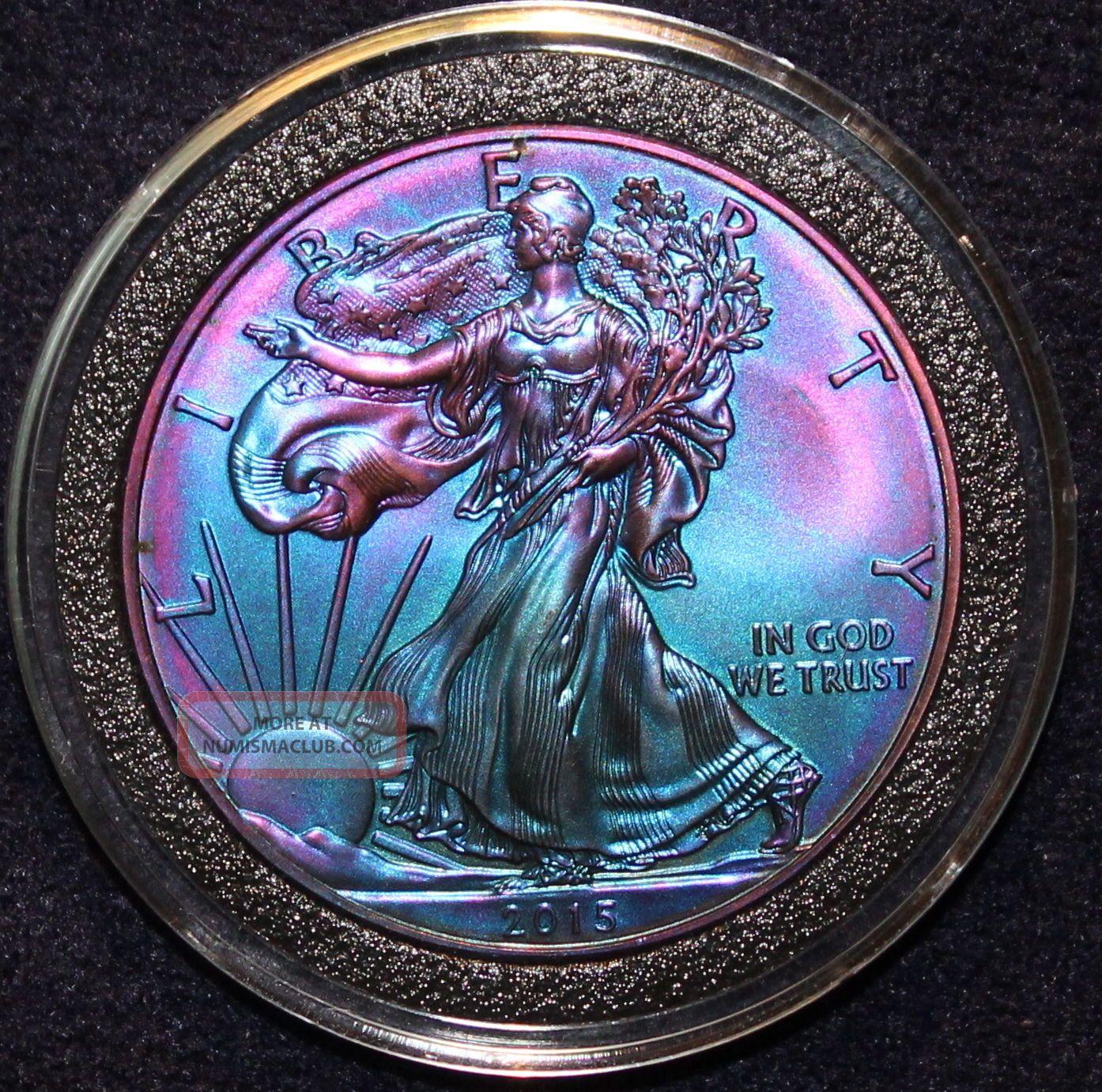 2015 American Silver Eagle Rainbow Toned 999 Bullion 1oz