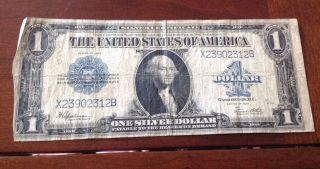 1923 Large Size One Dollar Silver Certificate U.  S.  Currency photo