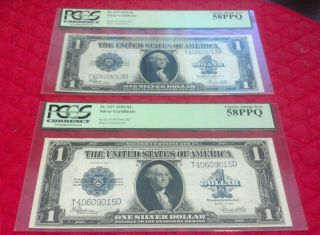 Two 1923 $1 U.  S.  Silver Certificates - Fr 237 - Pcgs Graded photo