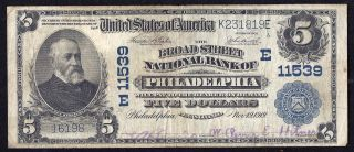 1902 Plain Back $5 Broad Street Nb Philadelphia National Currency Note 11539 photo