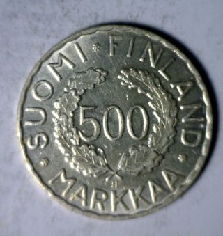 Finland 500 Markkaa 1952 Uncirc Silver Olympics Commemorative Coin (stock 1201) photo
