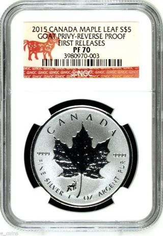 2015 $5 Canada 1 Oz Silver Maple Leaf Goat Sheep Privy Ngc Pf70 Fr Reverse Proof photo