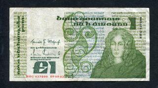 Ireland 1 One Pound Bank Note 1982 Irish Paper Money Queen Medb Lady Lavery photo