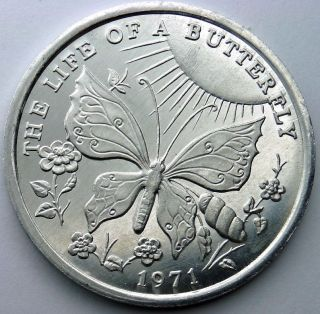 Life Of A Butterfly Token - 1971 Lakeside Carnival Club Plain Aluminum Doubloon photo
