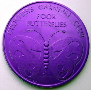 Butterfly Token - 1968 Grochers Carnival Club Purple Aluminum Doubloon photo