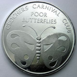 Butterfly Token - 1968 Grochers Carnival Club Plain Aluminum Doubloon photo