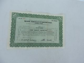 1946 Stock Certificate Globe Aircraft Corporation Airplane photo