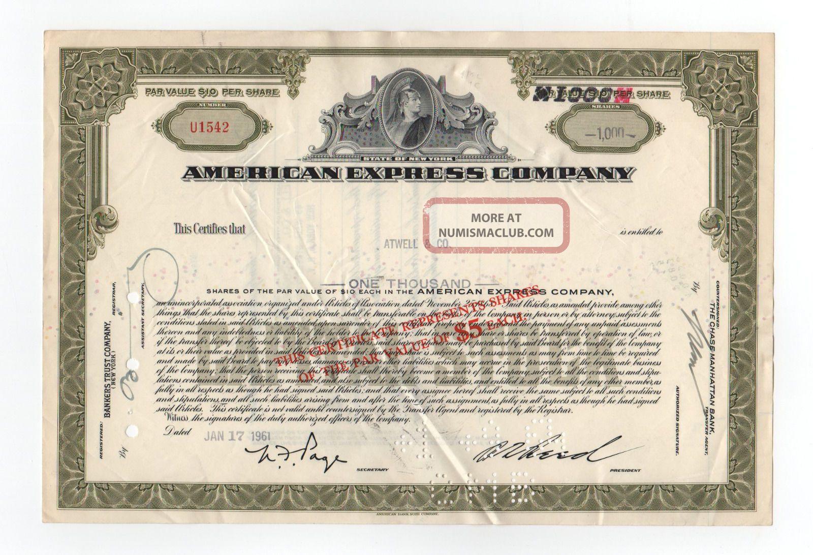 American Express Company Stock Certificate Stocks & Bonds, Scripophily photo