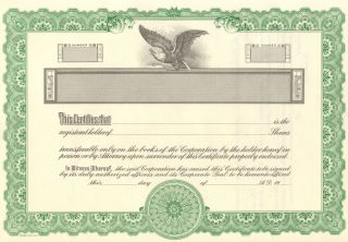 25 Blank Stock Certificate,  Kg2 Goes Litho Company,  Chicago photo