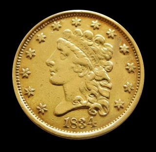 1834 Gold United States Classic Head $2 1/2 Quarter Eagle Coin Xf Details photo