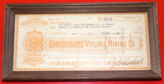 Rare Framed Vintage ' Consolidated Virginia Mining Company ' Old Stock Certificate photo