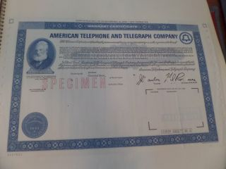 American Telephone And Telegraph Co Specimen Stock Cert 1975 photo