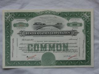 Bendix Aviation Corporation - Specimen Stock Certificate photo