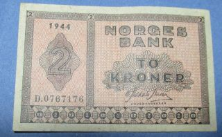 Norway 2 Kroner 1944 Cat.  16a1 photo