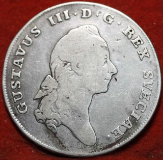 Circulated 1776ol Sweden 1 Riksdaler.  878 Silver Foreign Coin S/h photo