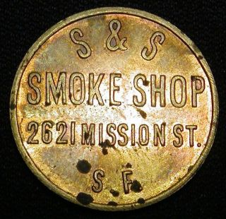 Vintage San Francisco California S & S Smoke Shop Good For 5 C Token Look photo