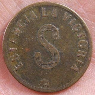 Vintage Estancia La Victoria 1 Vellon Token For Shearing 1 Sheep South America photo