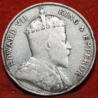 Circulated 1906 British Honduras 50 Cents Silver Foreign Coin S/h photo