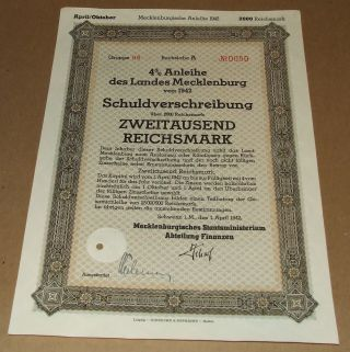 1942 Nazi Germany Debenture Bond Schuldverschreibung Old Document Swastika Seal photo