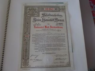 1896 Bremen Germany Bond Certificate With Coupons 500 Mark photo