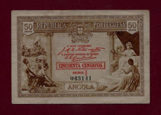 Portugal Portuguese Angola 50 Centavos 1923 P - 63 Vf, photo