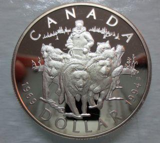 1994 Canada Rcmp Dog Team Patrol Silver Dollar Coin photo
