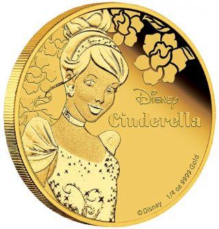 2015 Disney Princess - Cinderella 1/4oz Gold Proof Coin photo