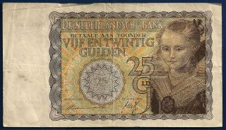 Netherlands 25 Gulden 1940 P - 57 Young Girl Dutch Painting By Paul Moreelse Ww2 photo