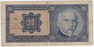 Czechoslovakia 20 Korun 1926 F P.  321a Code O photo