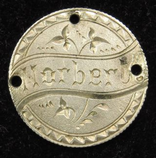 Love Token Charm Canada Silver Victoria Ten Cent Engraved Norbert (b33) photo