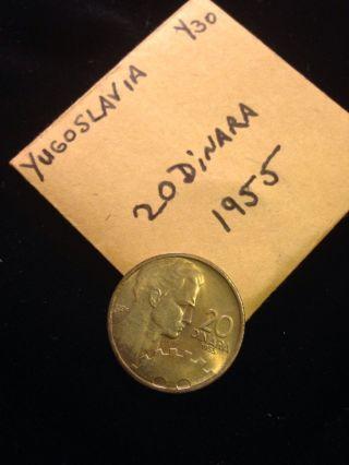 Yugoslavia 20 Dinara,  1955 Coin photo