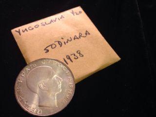 Yugoslavia 50 Dinara,  1938 Unc Silver photo