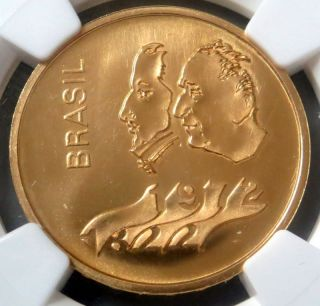 1972 Gold Brazil 300 Cruzeiros Independence Anniversary Coin Ngc State 66 photo