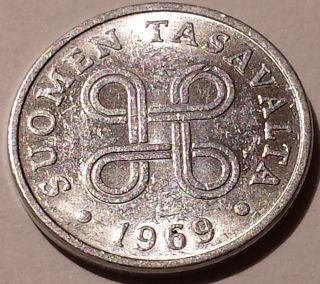 Finland 1 Penni,  1969 Four Joined Loops Form Design Aluminum Fine Detail photo