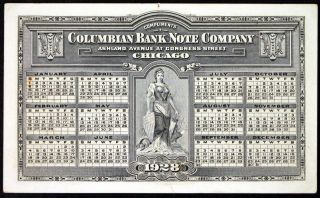 1928 Columbia Bank Note Company Advertising Calender Steel Engraving W Liberty photo