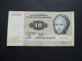 Denmark 10 Kroner Note,  1972,  Issue,  Circulated,  Paper Money, photo