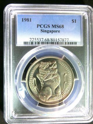 Singapore 1981 Lion Pcgs Ms68 Gembu $1 Rare photo