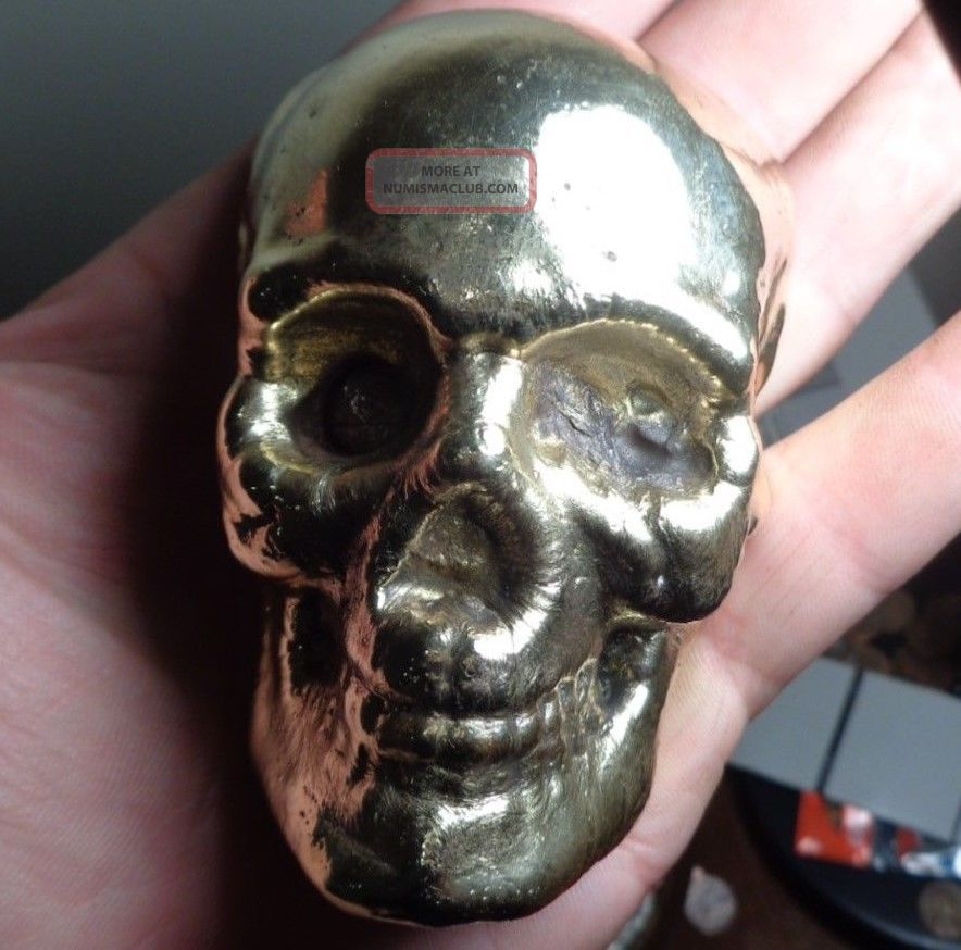 1 Kilo Hand Poured Scrap Silver And Brass Skull Ingots 32