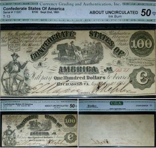 1861 $100 T - 13 Au Confederate States Of America Rare Csa Civil War Currency Note photo
