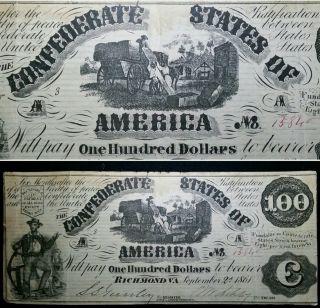 1861 T - 13 $100 Confederate States Of America Rare Csa Civil War Currency Note photo