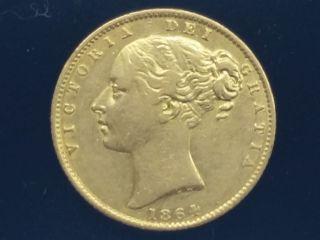 Great Britain 1864 Gold Victoria Shield Sovereign Die 9 Km 736.  2 photo