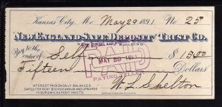 1891 England Safe Deposit & Trust Co.  - Kansas City,  Mo photo