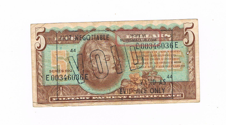 Usa Military Payment Certificate Vietnam War 5 Dollars Serie 692 Void 1970 Circ Paper Money: US photo