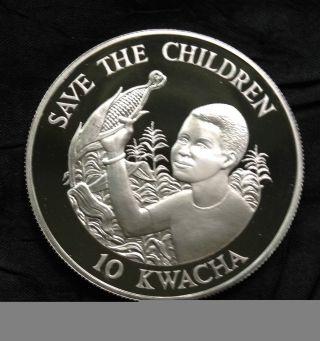 Zambia 10 Kwacha Silver Proof,  1989,  Save The Children photo