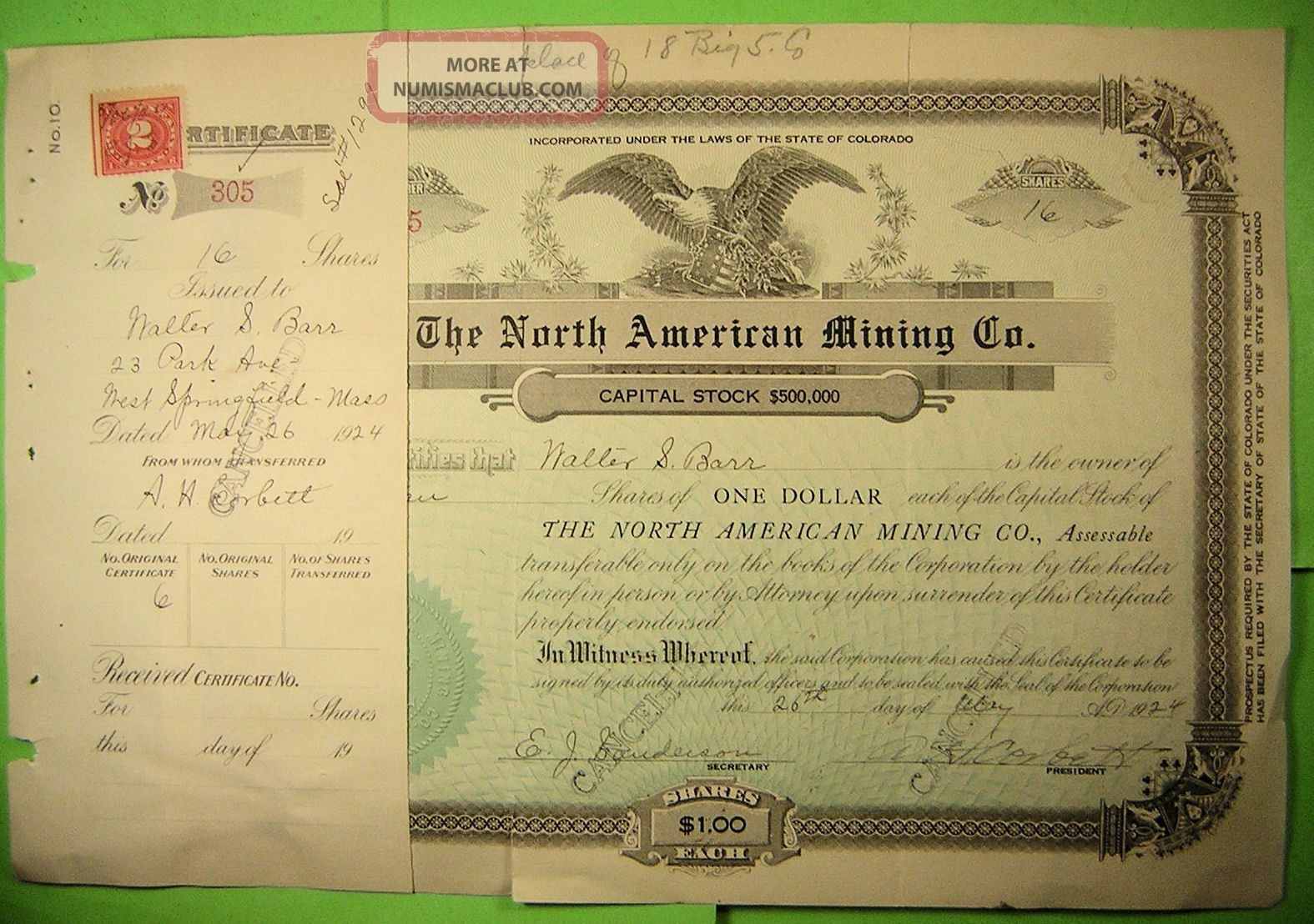 The North American Mining Co.  Stock Certificate And Report Of Properties 1927 Stocks & Bonds, Scripophily photo