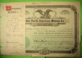 The North American Mining Co.  Stock Certificate And Report Of Properties 1927 photo