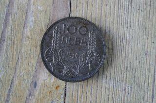 Moneta 100 Leva Boris Iii Bulgaria 1934 Silver photo